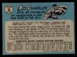 1965 O-Pee-Chee #35  Ed Charles  Back Thumbnail