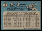 1965 O-Pee-Chee #43  Mike Shannon  Back Thumbnail