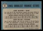 1965 O-Pee-Chee #49  Orioles Rookies  -  Curt Blefary / John Miller Back Thumbnail