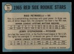 1965 O-Pee-Chee #74  Red Sox Rookies  -  Rico Petrocelli / Jerry Stephenson Back Thumbnail