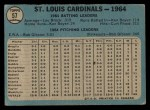 1965 O-Pee-Chee #57   Cardinals Team Back Thumbnail