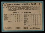 1965 O-Pee-Chee #136  1964 World Series - Game #5 - 10th Inning Triumph  -  Tim McCarver / Bill White / Dick Groat / Mike Shannon Back Thumbnail