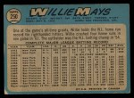 1965 O-Pee-Chee #250   Willie Mays Back Thumbnail