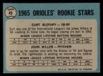 1965 O-Pee-Chee #49   -  Curt Blefary / John Miller Orioles Rookies Back Thumbnail