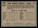 1965 O-Pee-Chee #135  1964 World Series - Game #4 - Boyer's Grand Slam  -  Ken Boyer / Elston Howard Back Thumbnail