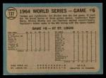 1965 O-Pee-Chee #137  1964 World Series - Game #6 - Bouton Wins Again  -  Jim Bouton Back Thumbnail