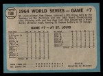 1965 O-Pee-Chee #138  1964 World Series - Game #7 - Gibson Wins Finale  -  Bob Gibson Back Thumbnail