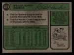 1974 #271  Bill Hands  Back Thumbnail