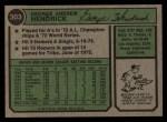 1974 Topps #303   George Hendrick Back Thumbnail