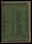 1974 Topps #383  Phillies Team  Back Thumbnail