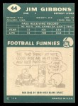 1960 Topps #44   Jim Gibbons Back Thumbnail