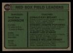 1974 Topps #403  Red Sox Leaders    -  Darrell Johnson / Don Bryant / Eddie Popowski / Lee Stange / Don Zimmer Back Thumbnail