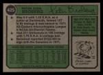 1974 Topps #425   Pete Broberg Back Thumbnail