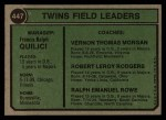 1974 Topps #447  Twins Leaders    -  Frank Quilici / Ver Morgan / Bob Rodgers / Ralph Rowe Back Thumbnail