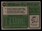1974 Topps #428   Gary Sutherland Back Thumbnail