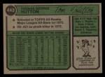 1974 Topps #443   Tom Hutton Back Thumbnail