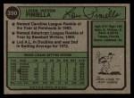 1974 Topps #390   Lou Piniella Back Thumbnail
