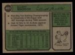 1974 Topps #401   Elliott Maddox Back Thumbnail