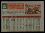 1959 Topps #312  Don Newcombe  Back Thumbnail