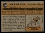 1960 Topps #481   Wes Stock Back Thumbnail