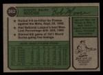 1974 Topps #382   Bob Moose Back Thumbnail