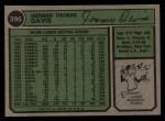 1974 Topps #396   Tommy Davis Back Thumbnail