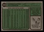 1974 Topps #400  Harmon Killebrew  Back Thumbnail