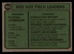 1974 Topps #403  Red Sox Field Leaders    -  Darrell Johnson / Don Bryant / Eddie Popowski / Lee Stange / Don Zimmer Back Thumbnail