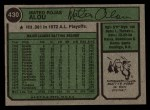 1974 Topps #430   Matty Alou Back Thumbnail
