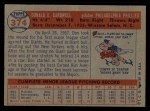 1957 Topps #374   Don Cardwell Back Thumbnail