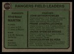 1974 Topps #379  Rangers Leaders    -  Billy Martin / Art Fowler / Frank Lucchesi / Jackie Moore / Charlie Silvera Back Thumbnail