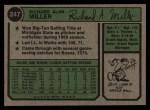1974 Topps #247   Rick Miller Back Thumbnail