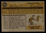 1960 Topps #402  Dick Stuart  Back Thumbnail