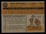 1960 Topps #475   Don Drysdale Back Thumbnail