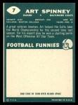 1960 Topps #7   Art Spinney Back Thumbnail