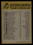 1974 Topps Red Team Checklists #12   Dodgers Team Checklist Back Thumbnail
