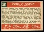 1959 Topps #383   -  Casey Stengel / Don Larson Words of Wisdom Back Thumbnail