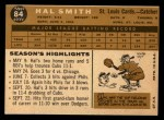1960 Topps #84  Hal R. Smith  Back Thumbnail