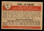 1953 Bowman Black and White #19  Paul LaPalme  Back Thumbnail