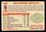 1956 Topps #100 LFT  Orioles Team Back Thumbnail