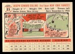 1956 Topps #21   Joe Collins Back Thumbnail