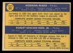 1970 Topps #207  Tigers Rookie Stars  -  Norman McRae / Bob Reed Back Thumbnail