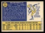 1970 Topps #279  Bill Lee  Back Thumbnail