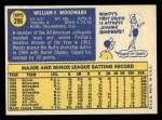 1970 Topps #296   Woody Woodward Back Thumbnail
