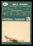 1960 Topps #61   Bill Wade Back Thumbnail