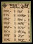 1967 Topps #237  AL Strikeout Leaders  -  Jim Kaat / Sam McDowell / Earl Wilson Back Thumbnail