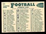 1960 Topps #11  Colts Team Checklist  Back Thumbnail