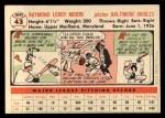 1956 Topps #43  Ray Moore  Back Thumbnail