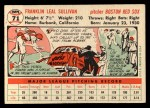 1956 Topps #71  Frank Sullivan  Back Thumbnail