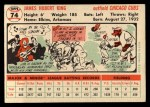 1956 Topps #74  Jim King  Back Thumbnail